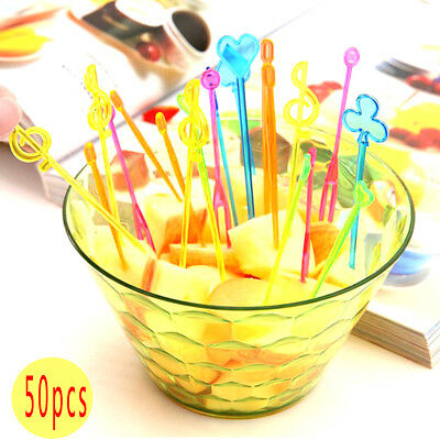 50pcs Bento Cute Colorful Food Fruit Picks Forks Lunch Box Accessory Decor Tools