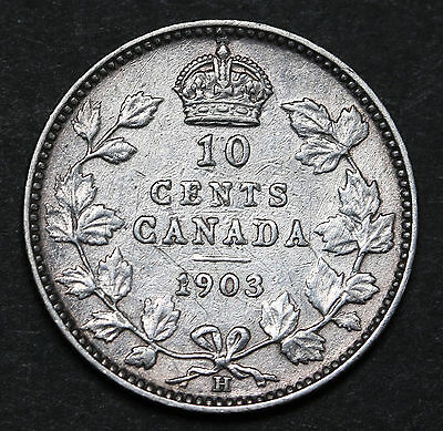 1903 Canada 10 Cents KM# 10 Sterling Silver Edward VII Coin