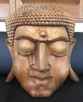Huge Massive Old Chinese Hand Carved Solid Wood Buddha Statue Sculpture Tibetan