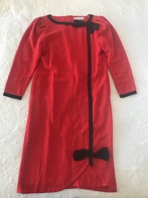 Fabulous Vintage Puccini Red 80s Dress Black Bow - Size UK 8 US 6