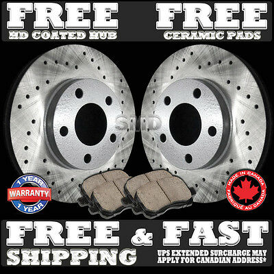 "P0040 FIT 1999 2000 BMW E46 328i 11.58"" REAR Cross Drilled Rotors Ceramic Pads"