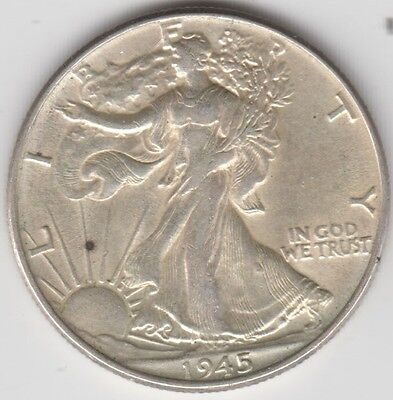 Coin 1945 USA walking Liberty silver half dollar in fine condition