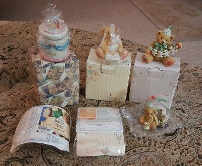 Lot Enesco 4 Cherished Teddies Birthdays - Two Age 4, age 5 & 6.  3 w/boxes