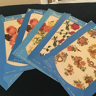 Vintage 6 MEYERCORD ROSES/FLOWERS DECALS SHEETS Transfers 540 550 555 557