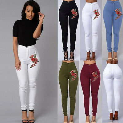 US STOCK Womens Pencil Stretch Embroidery Skinny Jeans Pants High Waist Trousers