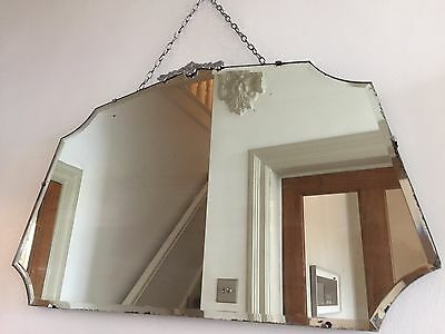 Old Vintage Bevelled Frameless Wall MIRROR Metal Detail 1930s 40s 68X42cm Large