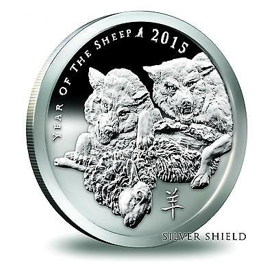 2015 Silver Shield Year Of The Sheep 1 oz Silver Proof COA #1413 of 1725 Minted