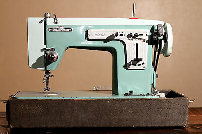 Vintage Two Tone Turquoise Japanese Zig-Zag Heavy Duty Sewing Machine Working!