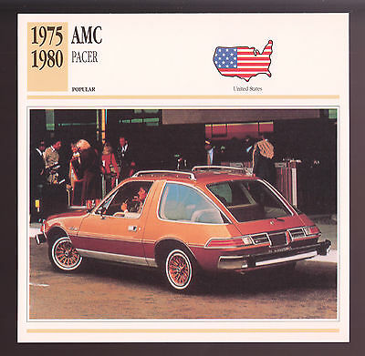 1975-1980 AMC Pacer American Motors Car Photo Spec Stat CARD 1976 1977 1978 1979
