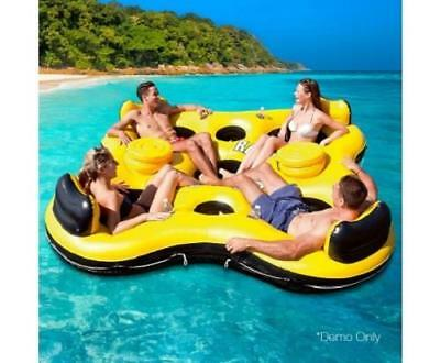 Bestway 4 Person Pool Beach Inflatable Lilo Floating Island Lounge Rapid Rider