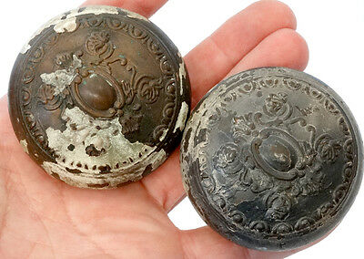 2 ANTIQUE Vintage 1800's VICTORIAN Fancy ART NOUVEAU Cast Metal DOOR KNOB