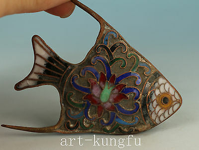 Lovely Chinese Old Cloisonne Handmade Carved Fish Statue Figure
