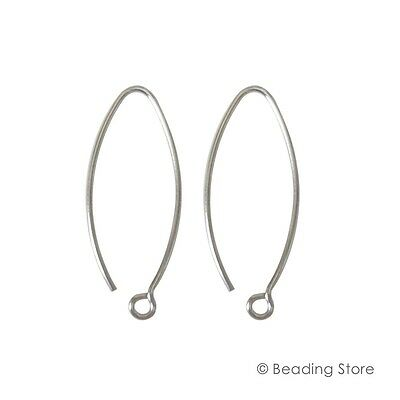 2, 20, 100 925 Sterling Silver 28mm x 12mm 21ga V French Earwire Ear Wires Hooks