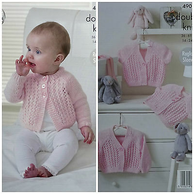 Baby KNITTING PATTERN Baby Round/V-Neck Lace Front Cardigans DK King Cole 4907