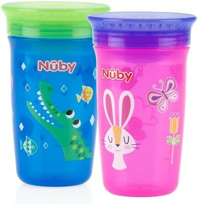 Nuby 360 Degree No Spill Kids Holiday Cup Maxi Pack Of 2 Cups BRAND NEW