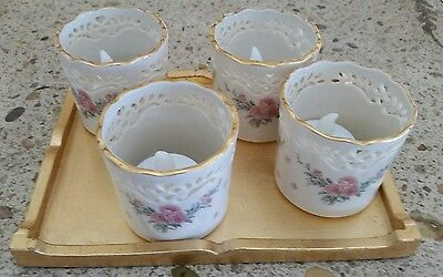 Lenox Set of 4  Votive  or Tealight Candle Holders  with Tray