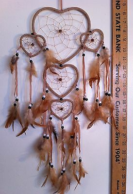 "Cherokee Handmade 26"" Dream Catcher, Tan Hearts, Tan Feathers, Blk & Wht Beads"