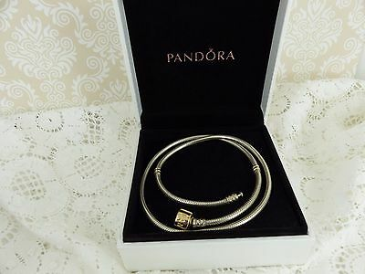 Pandora Sterling Silver & 14ct Gold Two tone Charm Necklace boxed