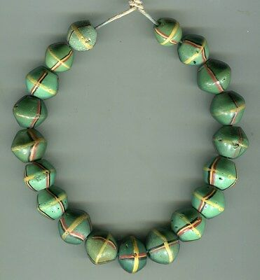 African Trade beads Vintage Venetian glass beads mixed green King beads