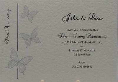 Personalised White Invitations Silver 25th Wedding Anniversary Invites Envelopes