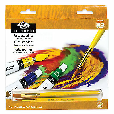 Royal Langnickel Artist's Gouache Paint Set of 18 tubes + 2 Taklon Brushes