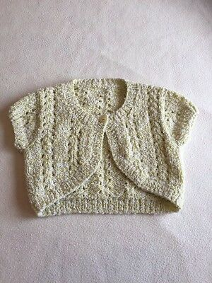 Baby Girls Clothes 0-3 Months  -  Lovely Hand  Knitted Bolero Cardigan -
