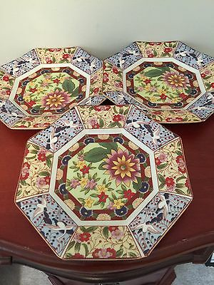 Imari Ware Japan Decorative Porcelain Octagon Plates - Floral Doves  Set Of 3