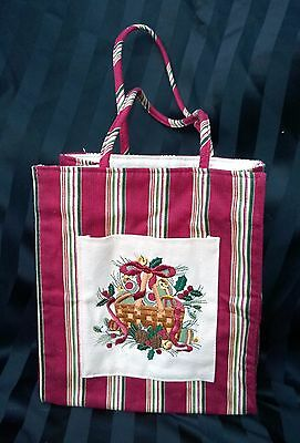 NEW Longaberger EMBROIDERED Basket Holiday Christmas Canvas Tote Bag Lunch,Gift