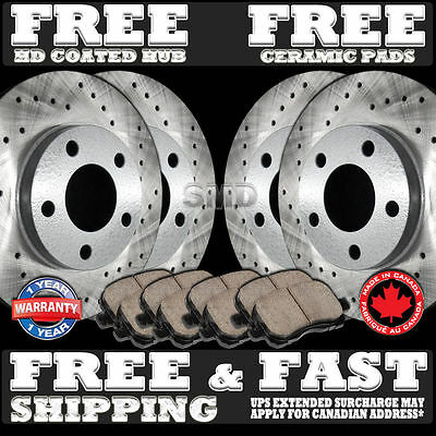P0872 Fit 2010 2011 2012 2013 Ram 1500 Brake Rotors Ceramic Pads [Front+Rear]