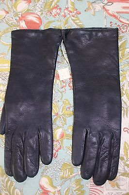 VTG New Tags***Leather Gloves** Italy**Dark Navy**Size 7 1/2
