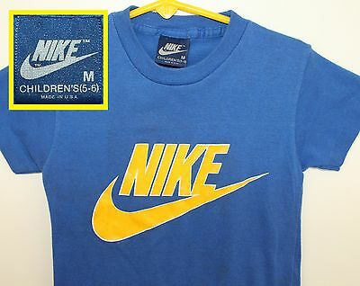 80s Nike swoosh blue tag vtg youth tee blue Children's M 5-6 soft thin 50/50