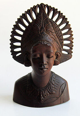 Carved Wooden Woman Bust Indonesia Bali Goddess Head Priestess