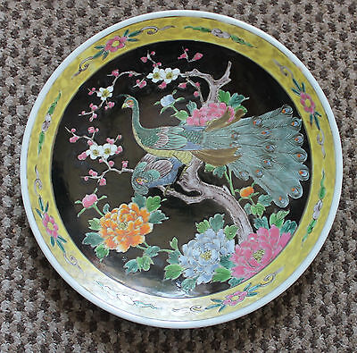 "A C19th 12.3"" Japanese Famille Rose Enamel Peacocks Blossoms Charger"