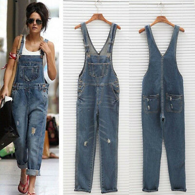 Women's Washed Ripped Holes Distressed Adjustable Strap Bib Overalls Jumpers