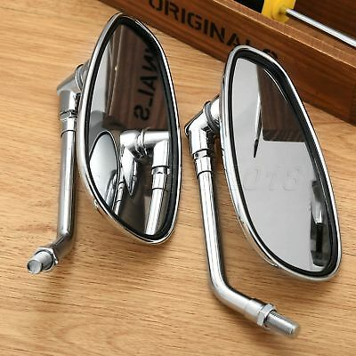 2x Motorcycle Chrome Oval Side Rearview Mirrors For Cruiser Chopper Custom 10MM