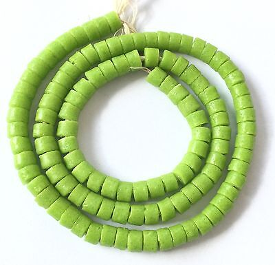 Handmade Ghana recycled Lime Green glass disk African Trade Beads