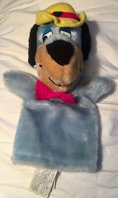 Huckleberry Hound Hand Puppet Hanna-Barbers 1980's Blue Dog Plush Toy Yellow Hat