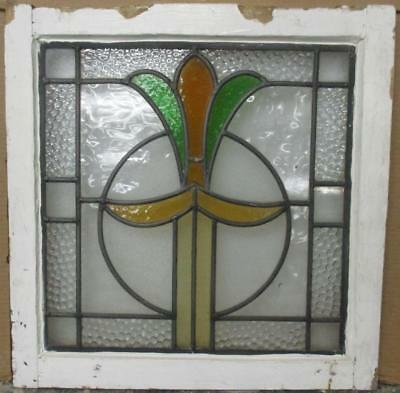 """OLD ENGLISH LEADED STAINED GLASS WINDOW Abstract Floral 20"""" x 20"""""""