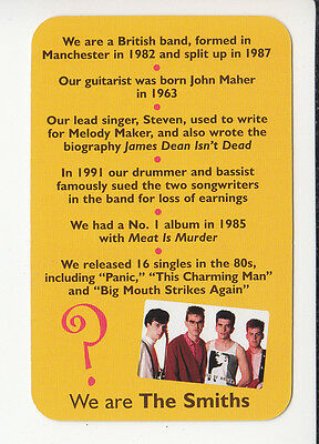 THE SMITHS British 1980s Rock Group Band 2006 QUIZ GAME TRIVIA PHOTO CARD #2