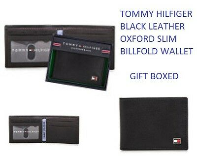 Mens Tommy Hilfiger Black Oxford Slim Billfold Wallet Genuine Leather Gift Boxed