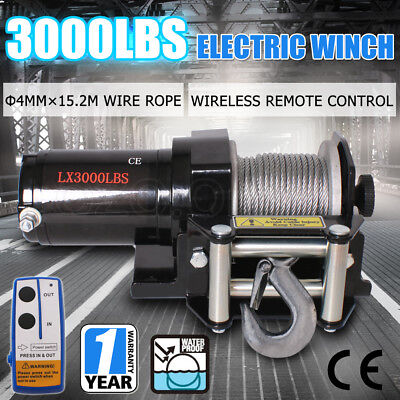 3000LBS /1360KG 12V Electric Winch Wireless Remote Car Boat ATV 4WD Trailer