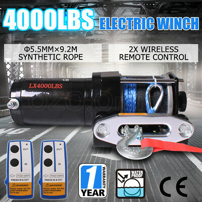 4000LBS /1814KG 12V Electric Winch Wireless Remote Car Boat ATV 4WD Trailer