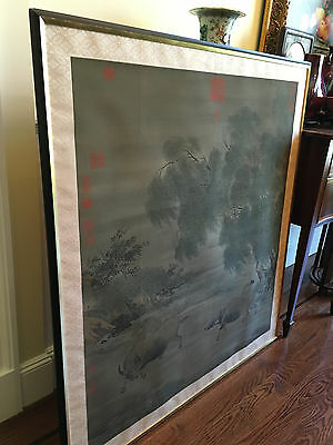 A Large and Important Chinese Antique Painting on Silk Framed with Seal Marks.