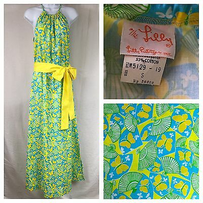 VTG 60's-70's THE LILLY Pulitzer Yellow Butterfly Halter Maxi Dress Sz Small