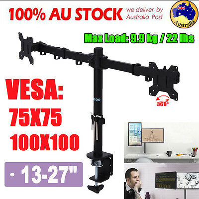 Dual Double LED Desk Mount Monitor Stand 2 Arm Display Bracket LCD Screen Holder