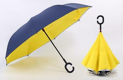 Creative Car Can Stand Free Hands Holding Windproof Folding Reverse Umbrella