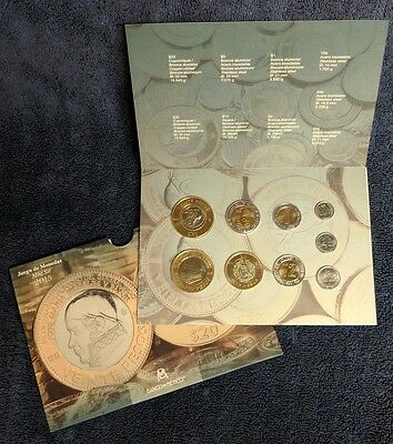 Mexico 2015 Bank of Mexico 9 coins mint set Brilliant UNC., in original display.