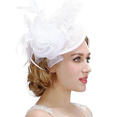 Valdler Womens Feather Mesh Net Sinamay Fascinator Hat with Hair Clip Tea White