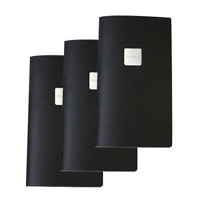5x Deluxe Tuscan Leather Menu, Black, A4, Narrow with 2 Pockets, 'Menu' Badge