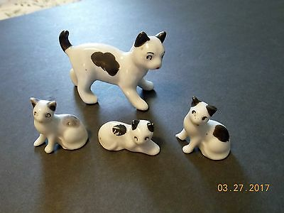 Vintage Bone China Mama Cat & 3 kittens made in Japan